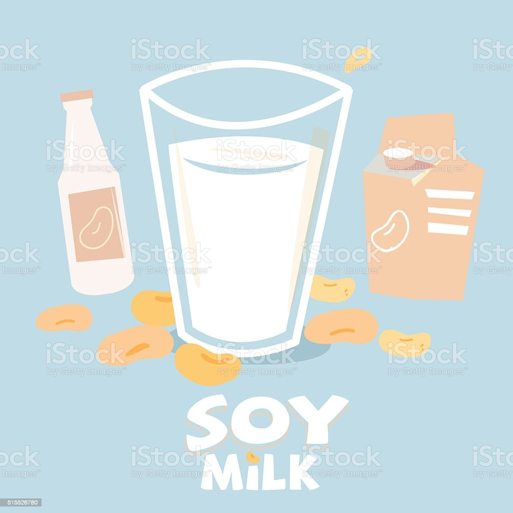 soybean milk in glass with bottle and box package. vector art illustration