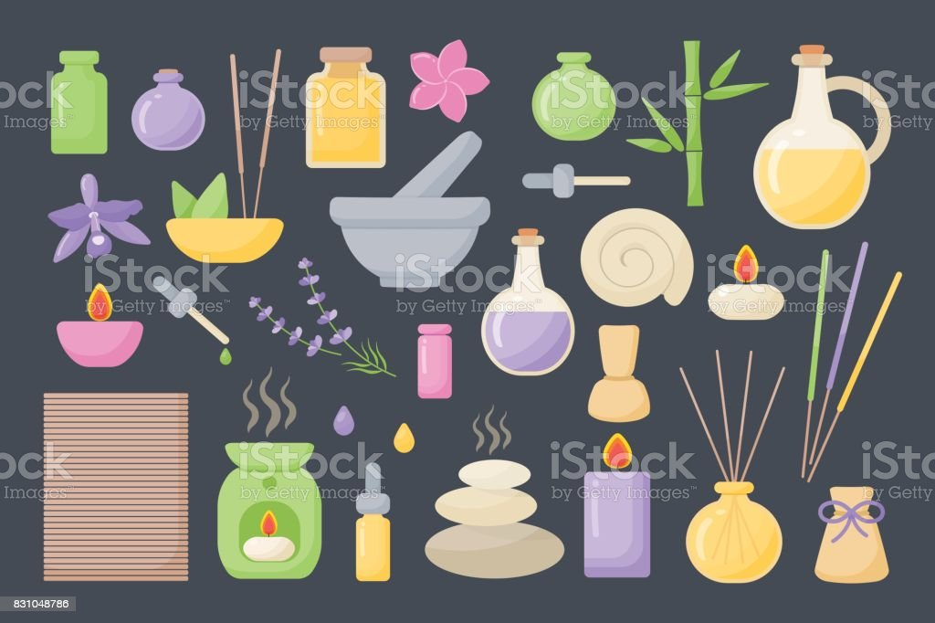 Spa and aromatherapy vector flat icons set vector art illustration