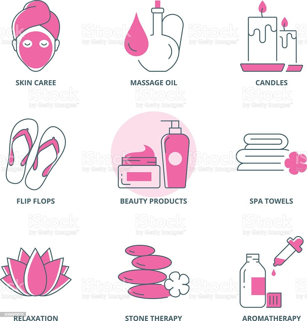 Spa and beauty icons set vector art illustration