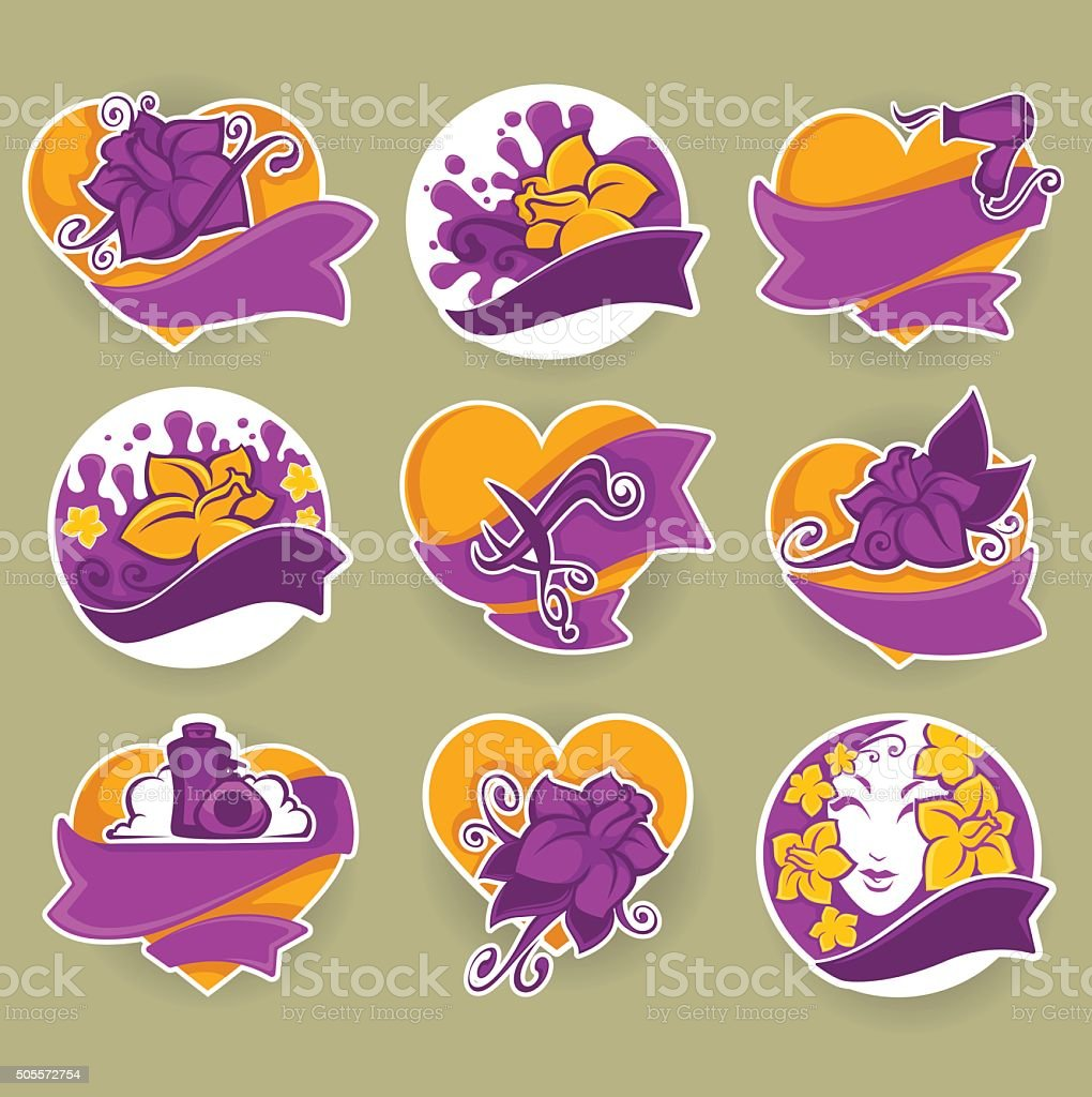 spa and beauty products and salons emblems, stickers and badges vector art illustration
