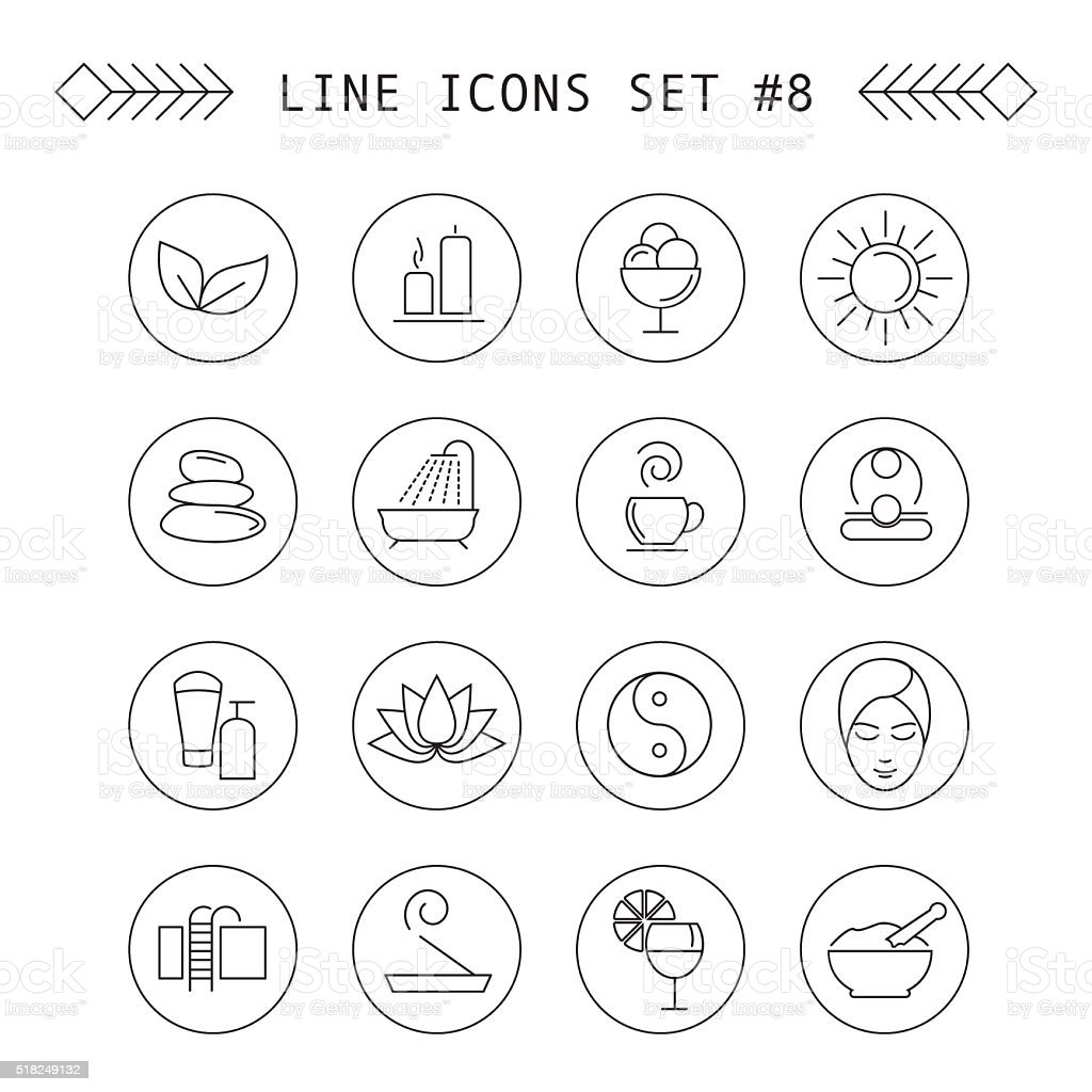 Spa and leisure linear icons vector art illustration