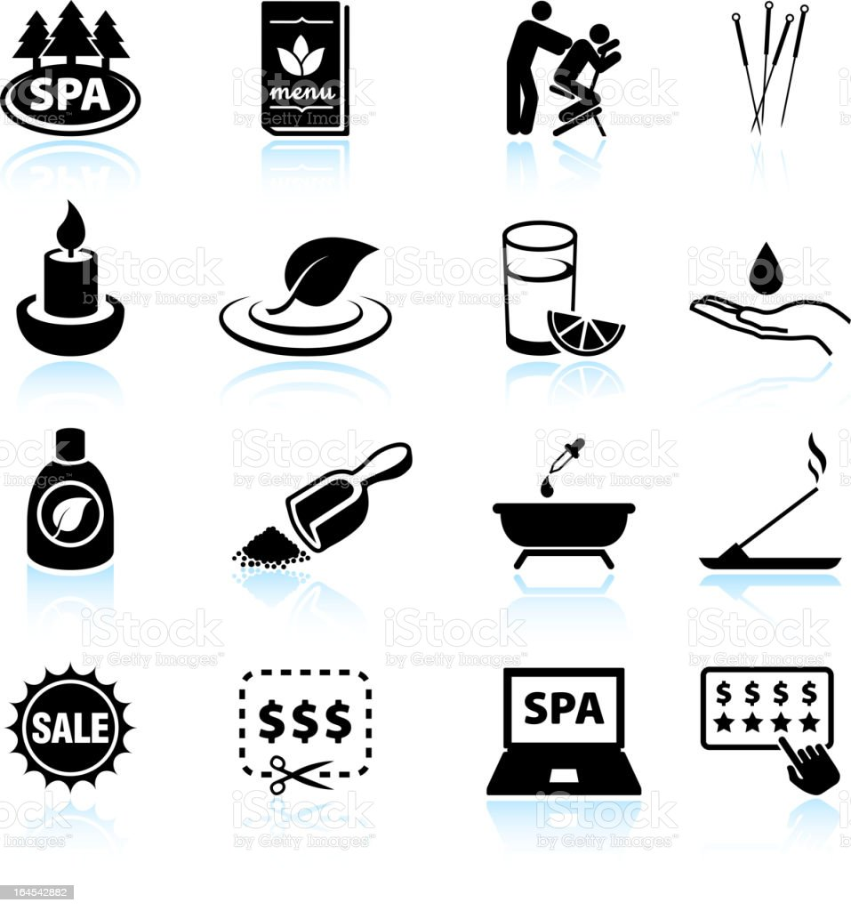 Spa and relaxation black & white vector icon set vector art illustration
