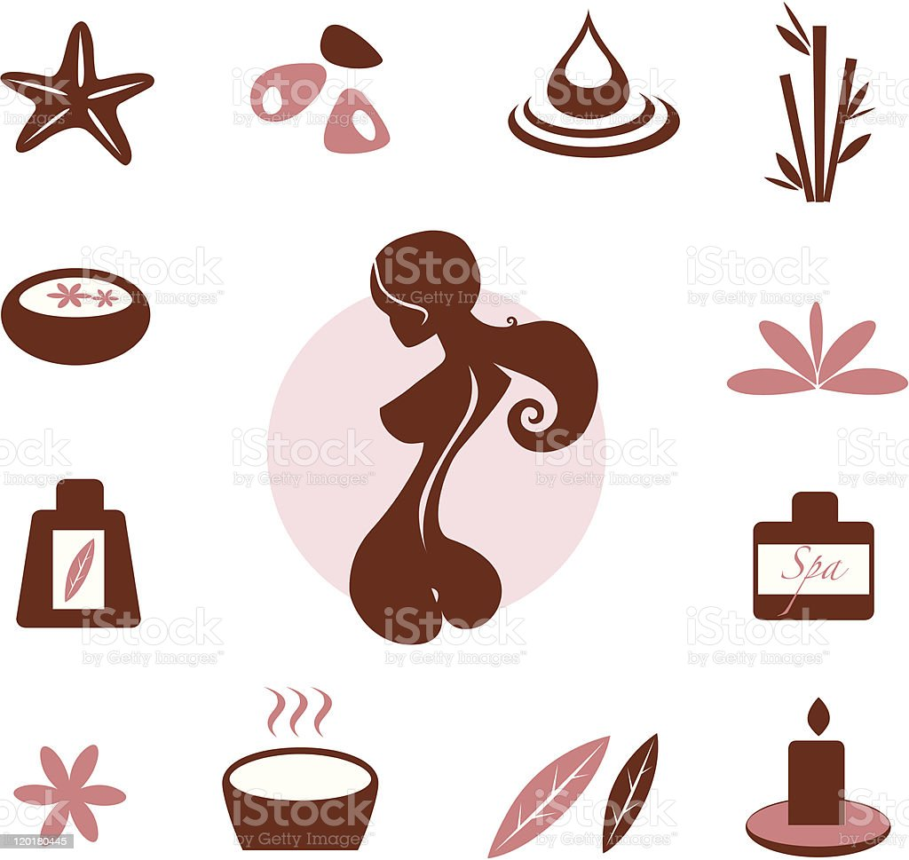Spa and wellness icon collection - brown royalty-free stock vector art
