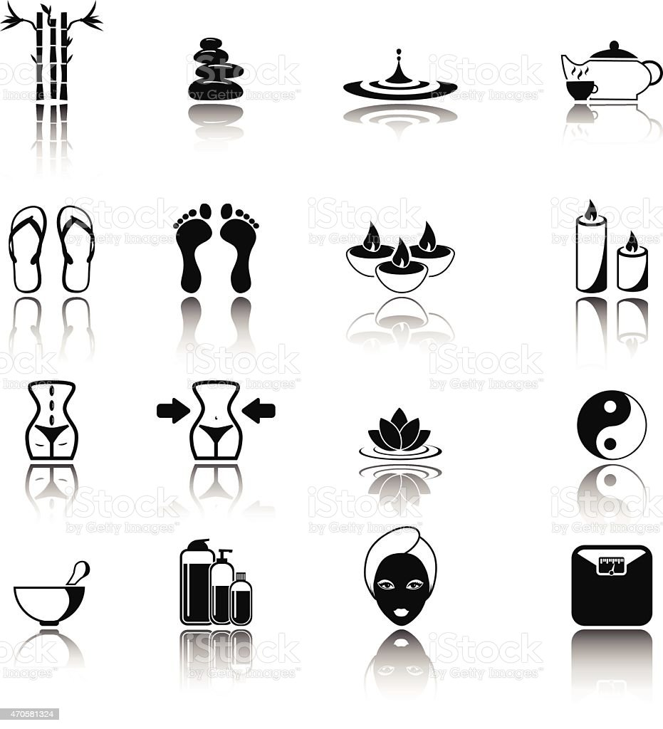 Spa and wellness icon set vector art illustration