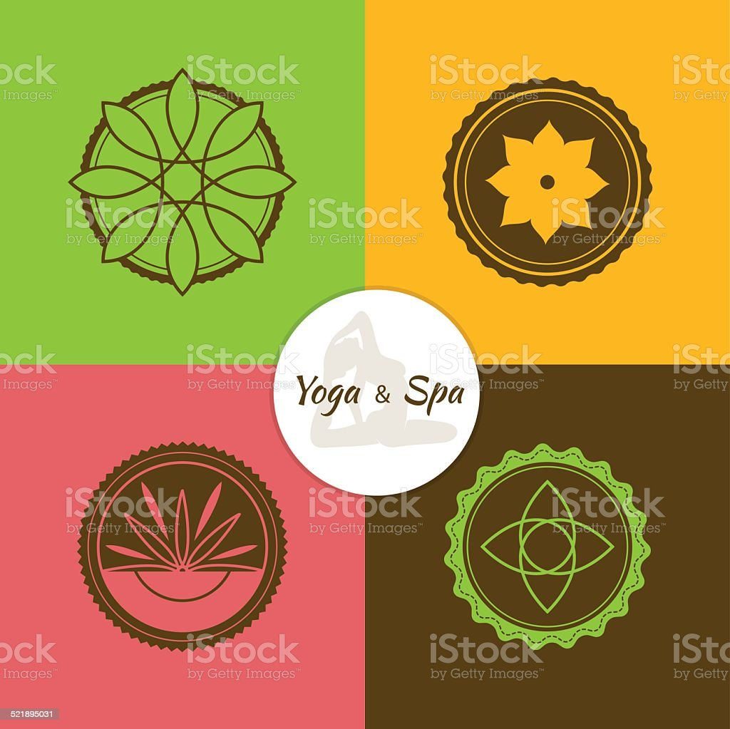 Spa and yoga lables set vector art illustration
