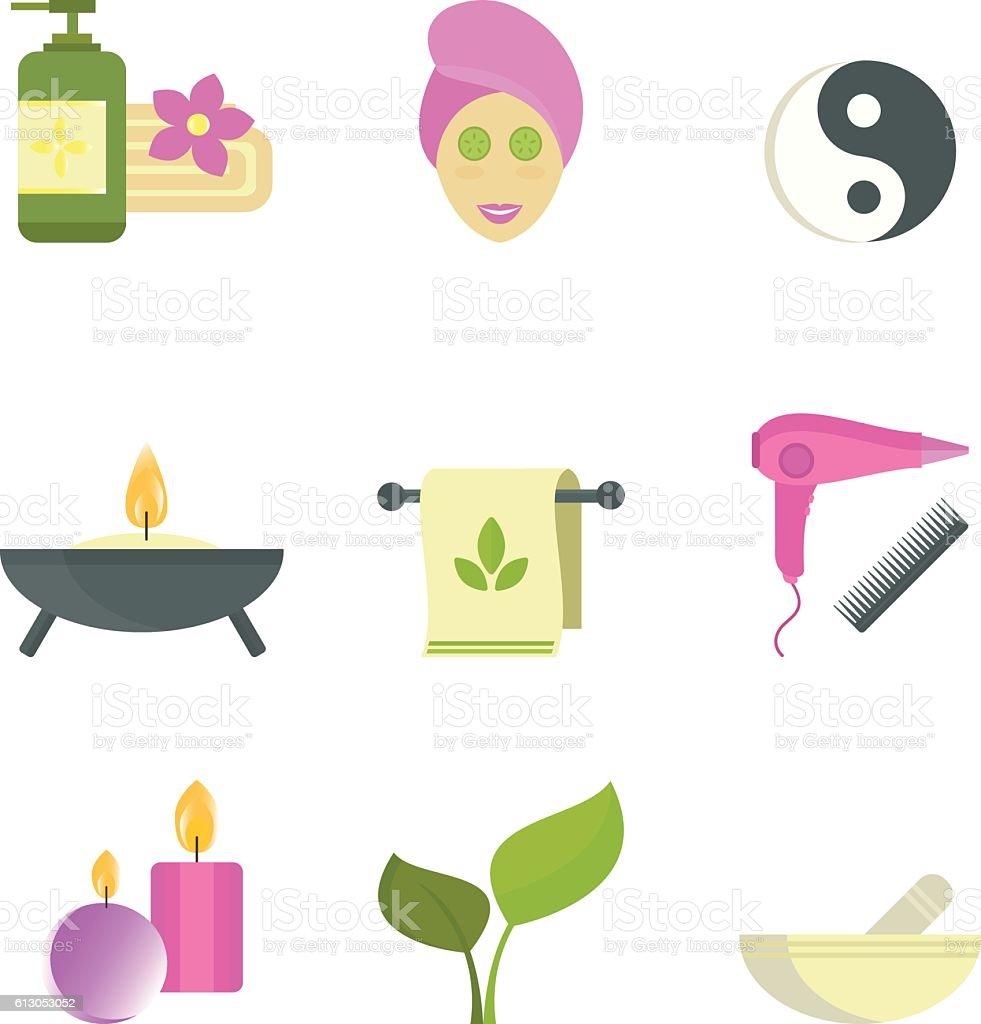 Spa Beauty Body Care Vector Icons Lizenzfreies Vektor Illustration