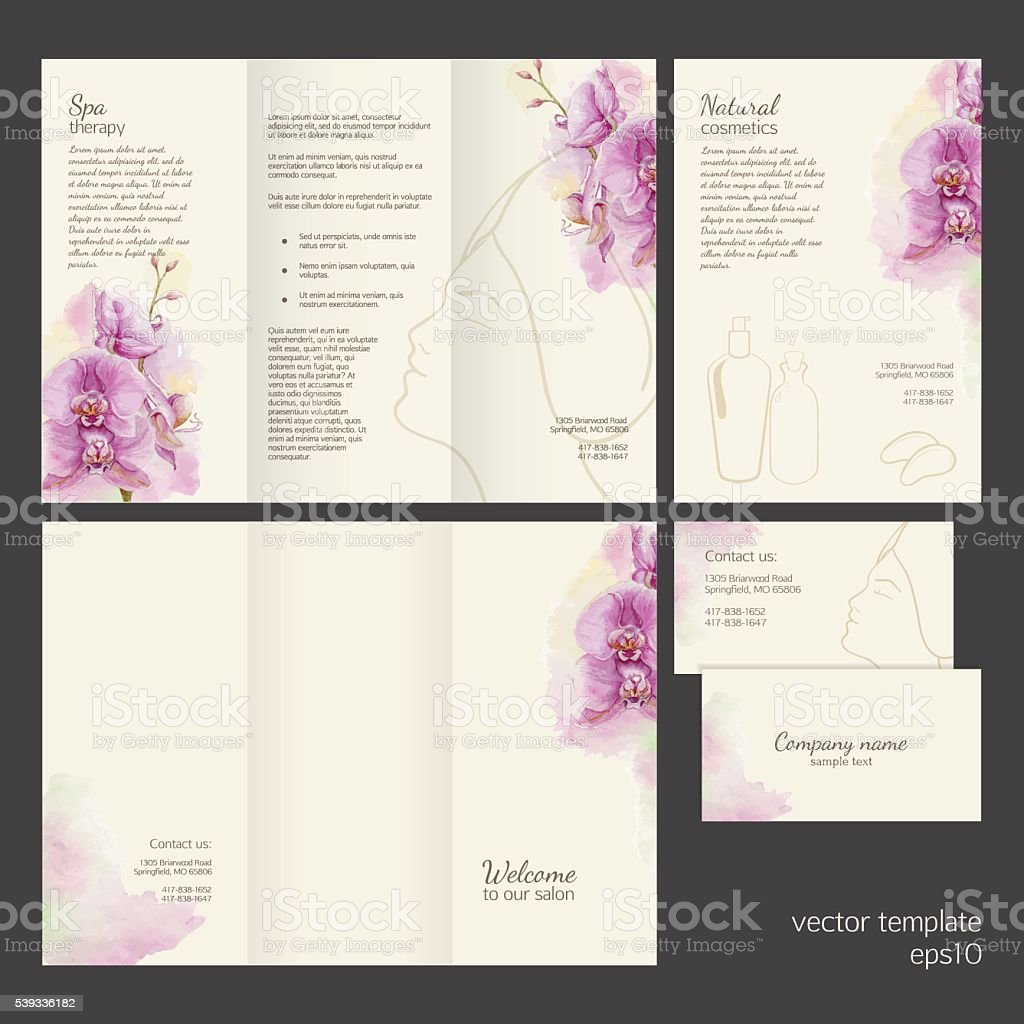 Spa concept. Vector template with watercolor orchid. vector art illustration