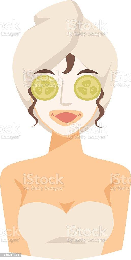Spa girl applying facial clay mask beauty lifting treatments vector vector art illustration