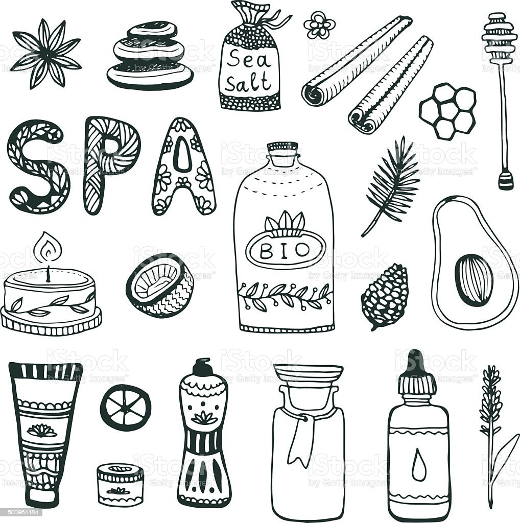 Spa hand dawn collection. Beauty icon set. Vector original illustration. vector art illustration