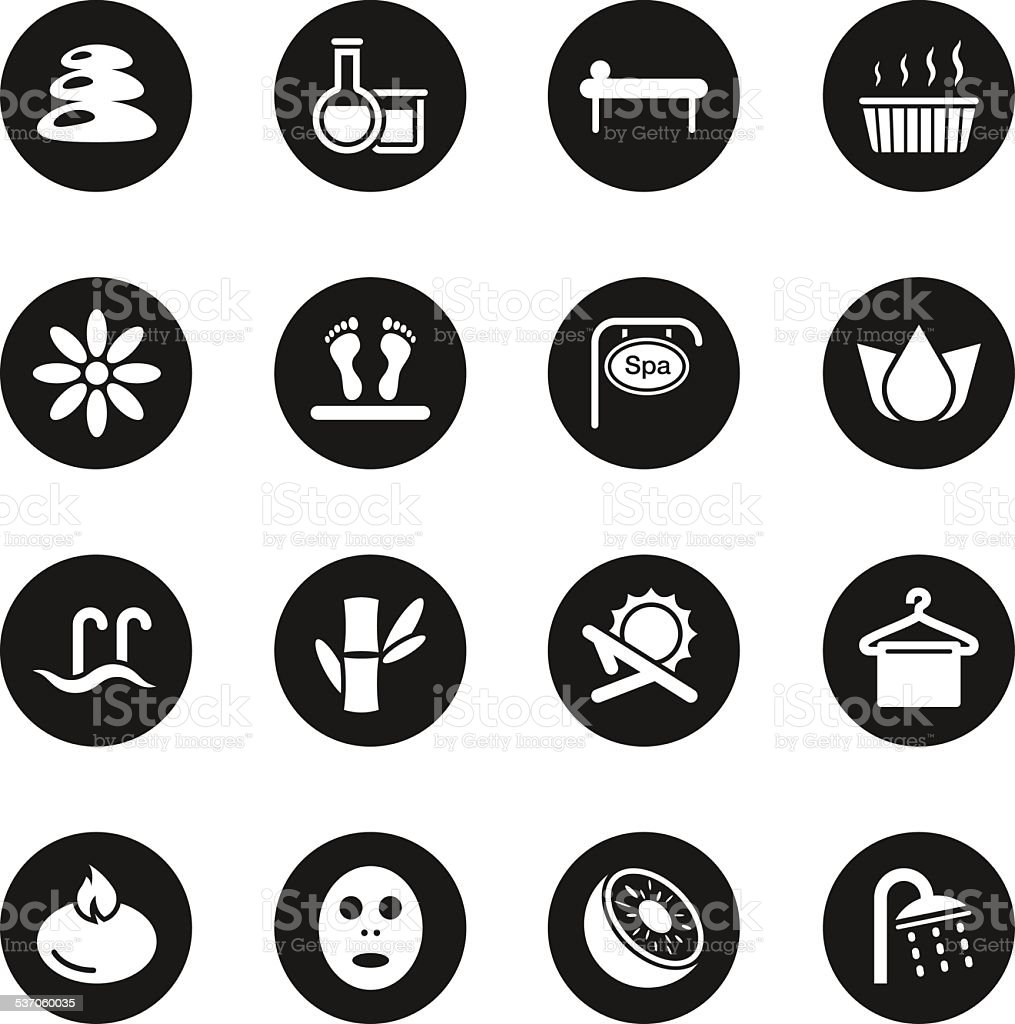Spa Icons - Black Circle Series vector art illustration