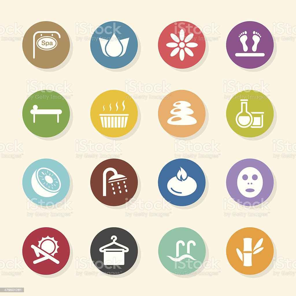 Spa Icons - Color Circle Series vector art illustration