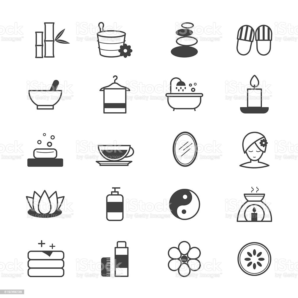 Spa Icons Line vector art illustration