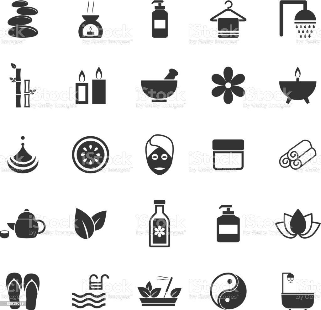 Spa icons on white background vector art illustration