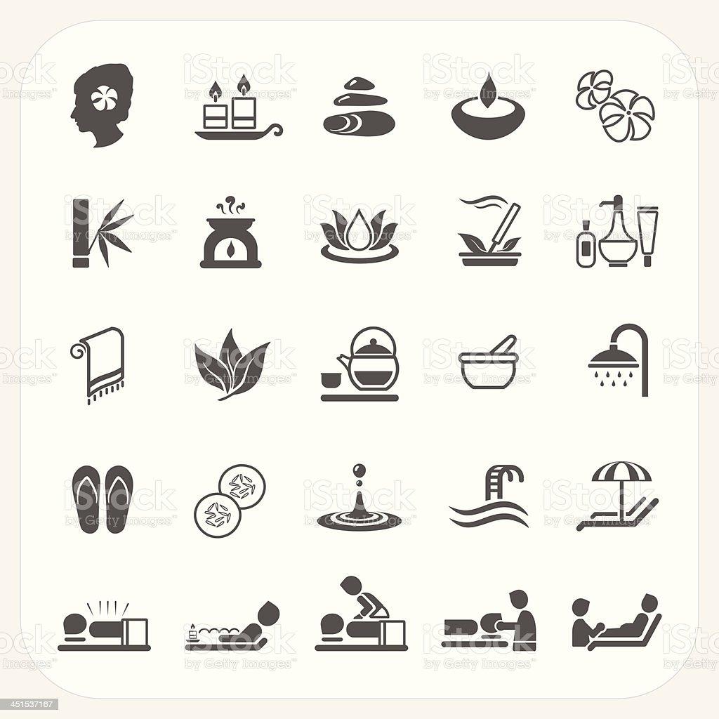 Spa icons set vector art illustration