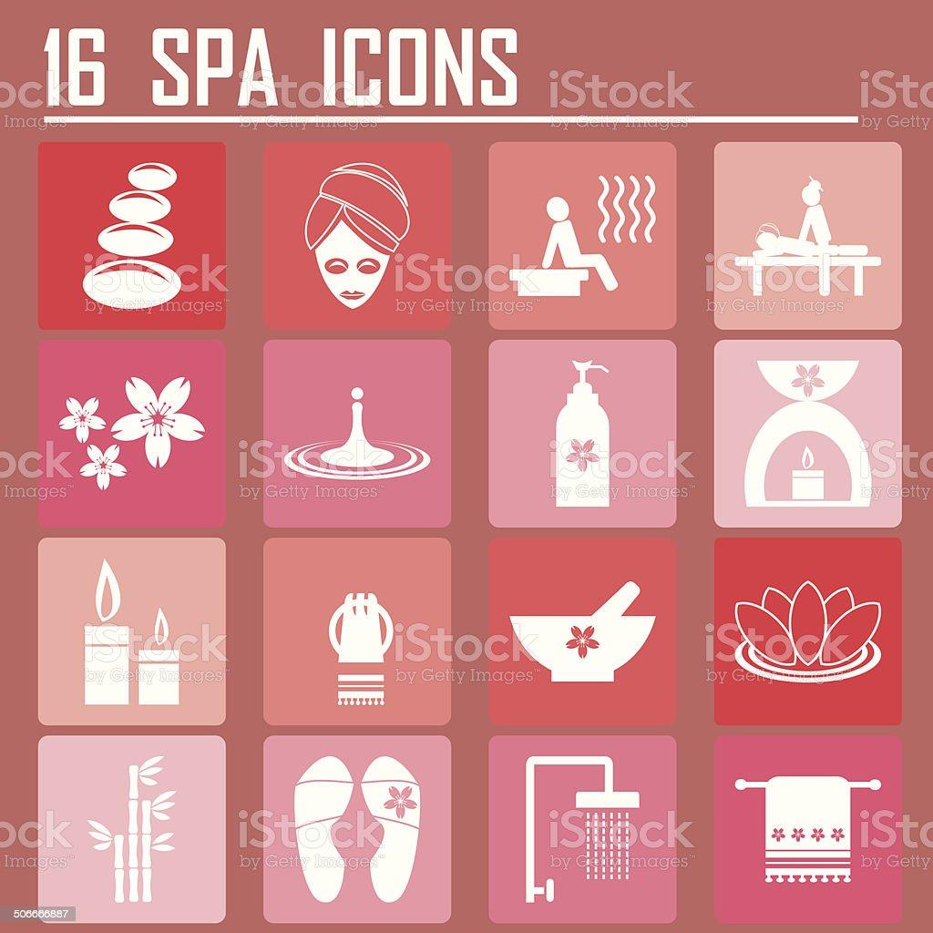 16 Spa icons vector art illustration