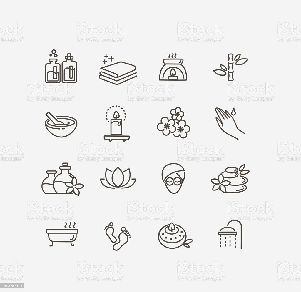 spa icons vector art illustration