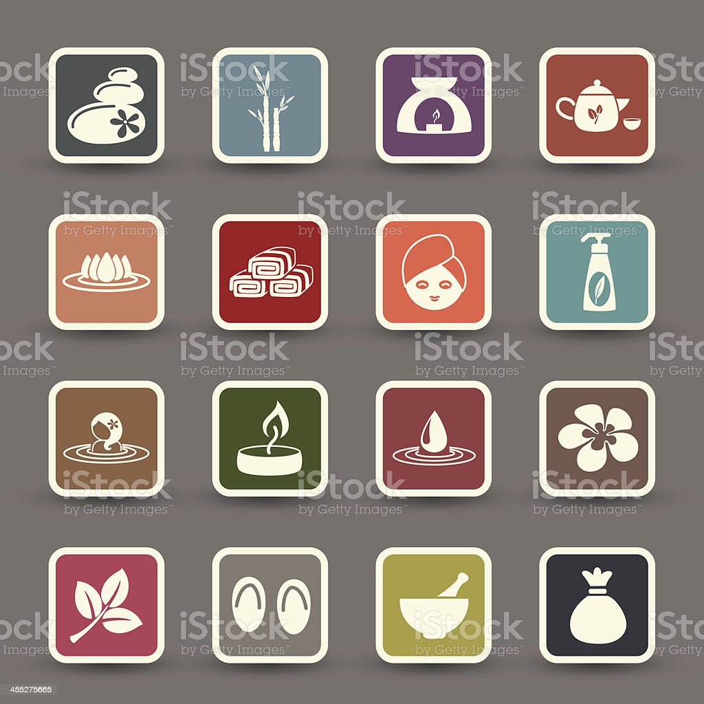 Spa icons with colored squares on grey royalty-free stock vector art