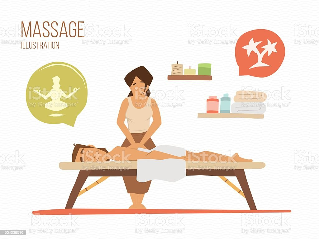 Spa massage vector art illustration