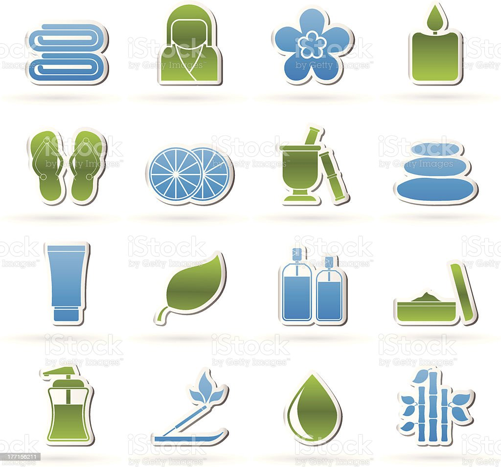 Spa objects icons royalty-free stock vector art