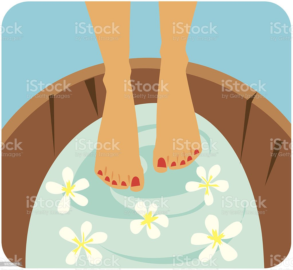 Spa pedicure bath vector art illustration