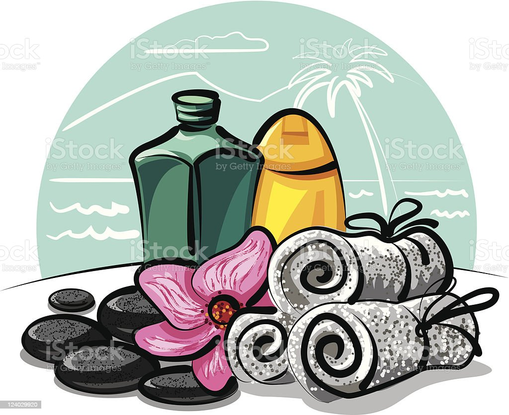 spa products collection royalty-free stock vector art