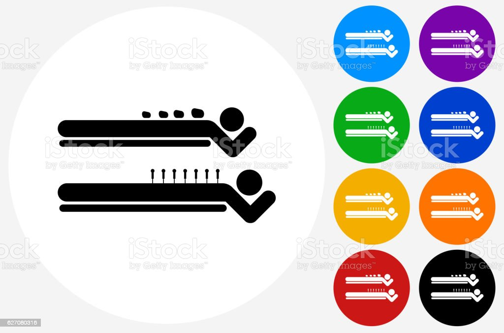 Spa Rock Massage Icon on Flat Color Circle Buttons vector art illustration