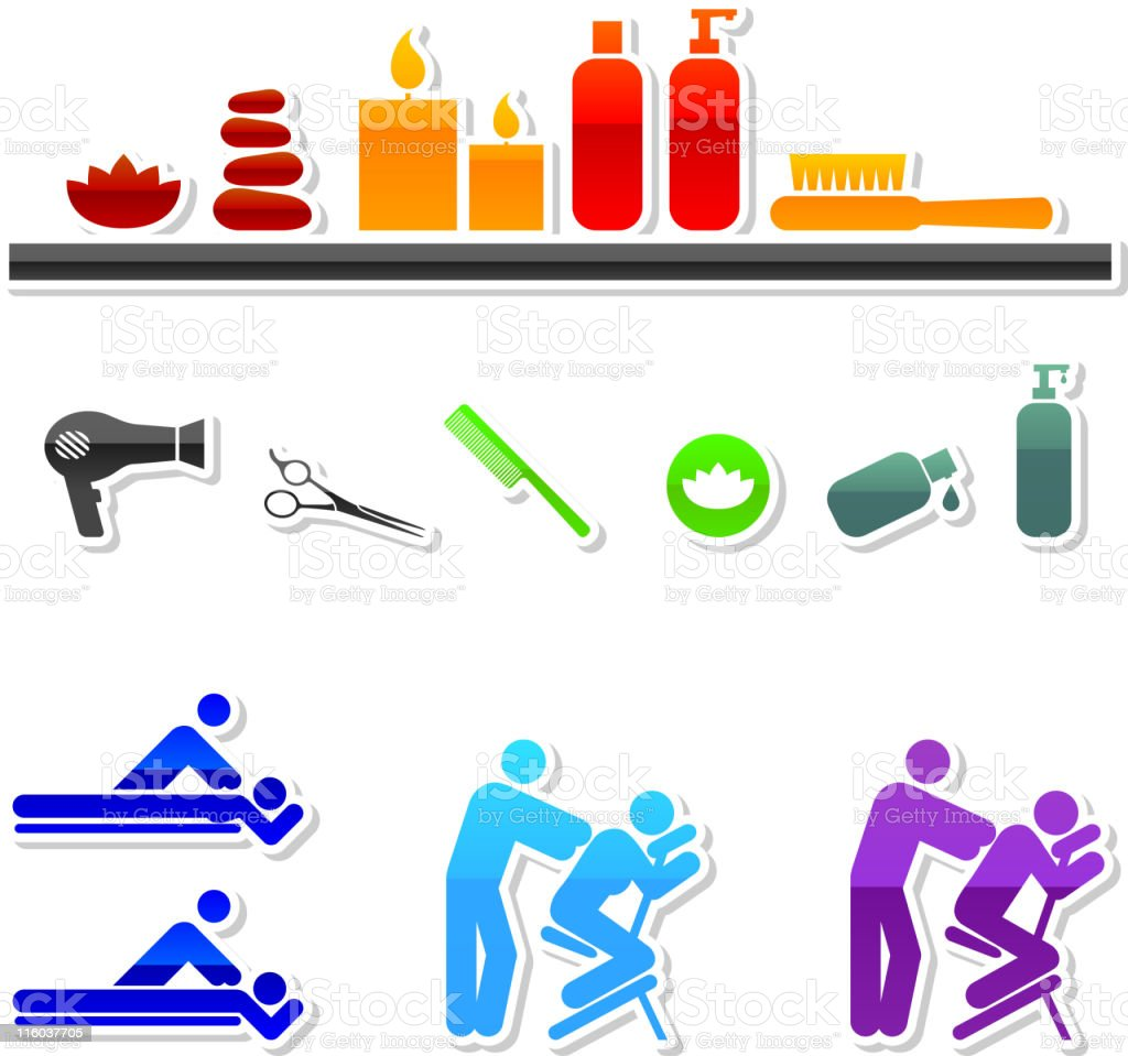 spa royalty free vector icon set in nine colors vector art illustration