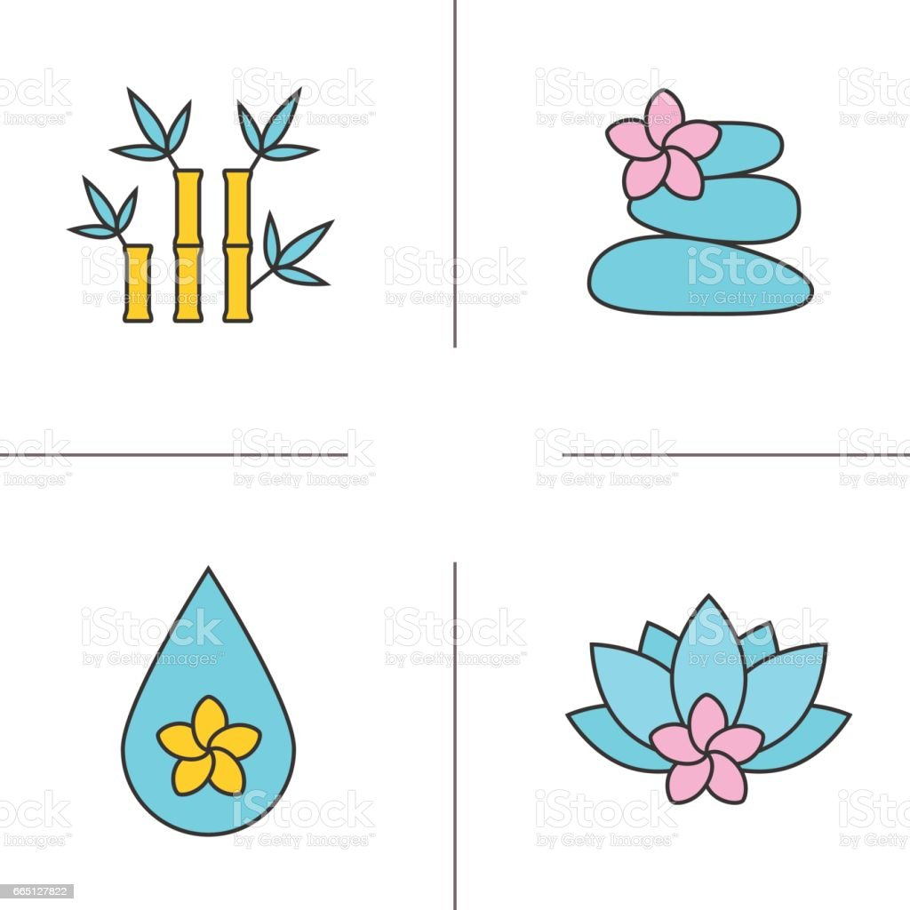 Spa salon icons vector art illustration