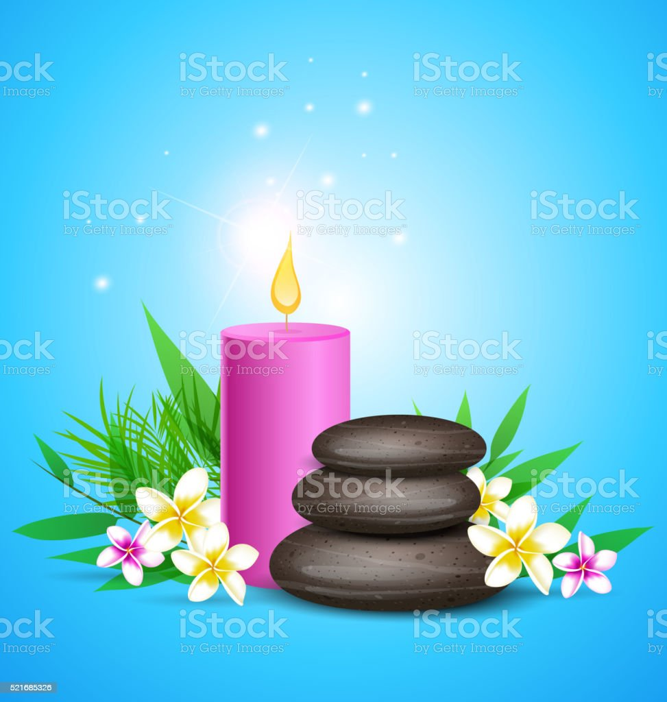 Spa stones and pink candles. vector art illustration