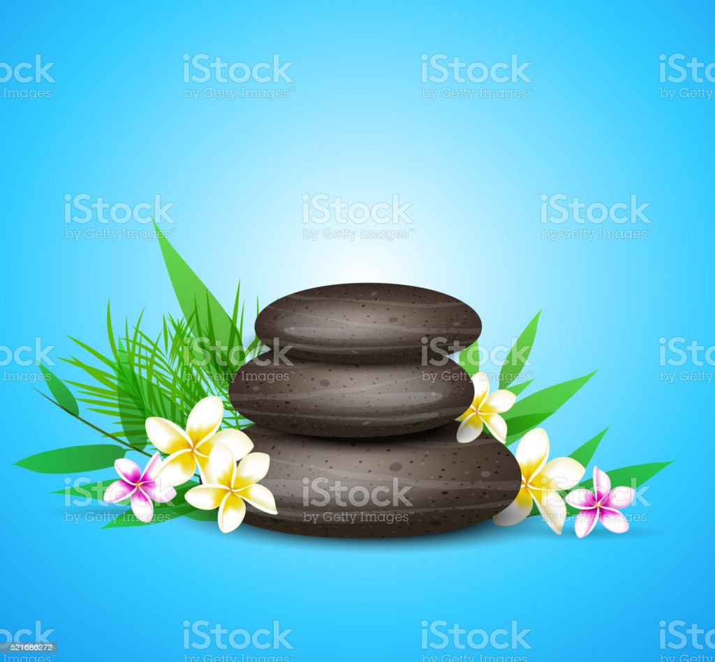 Spa stones and tropical flowers. vector art illustration