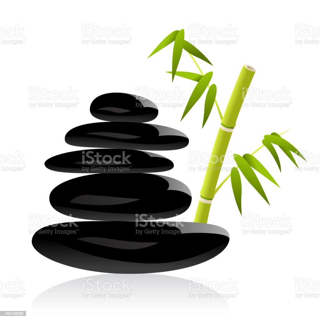 Spa Stones & Bamboo Grass vector art illustration