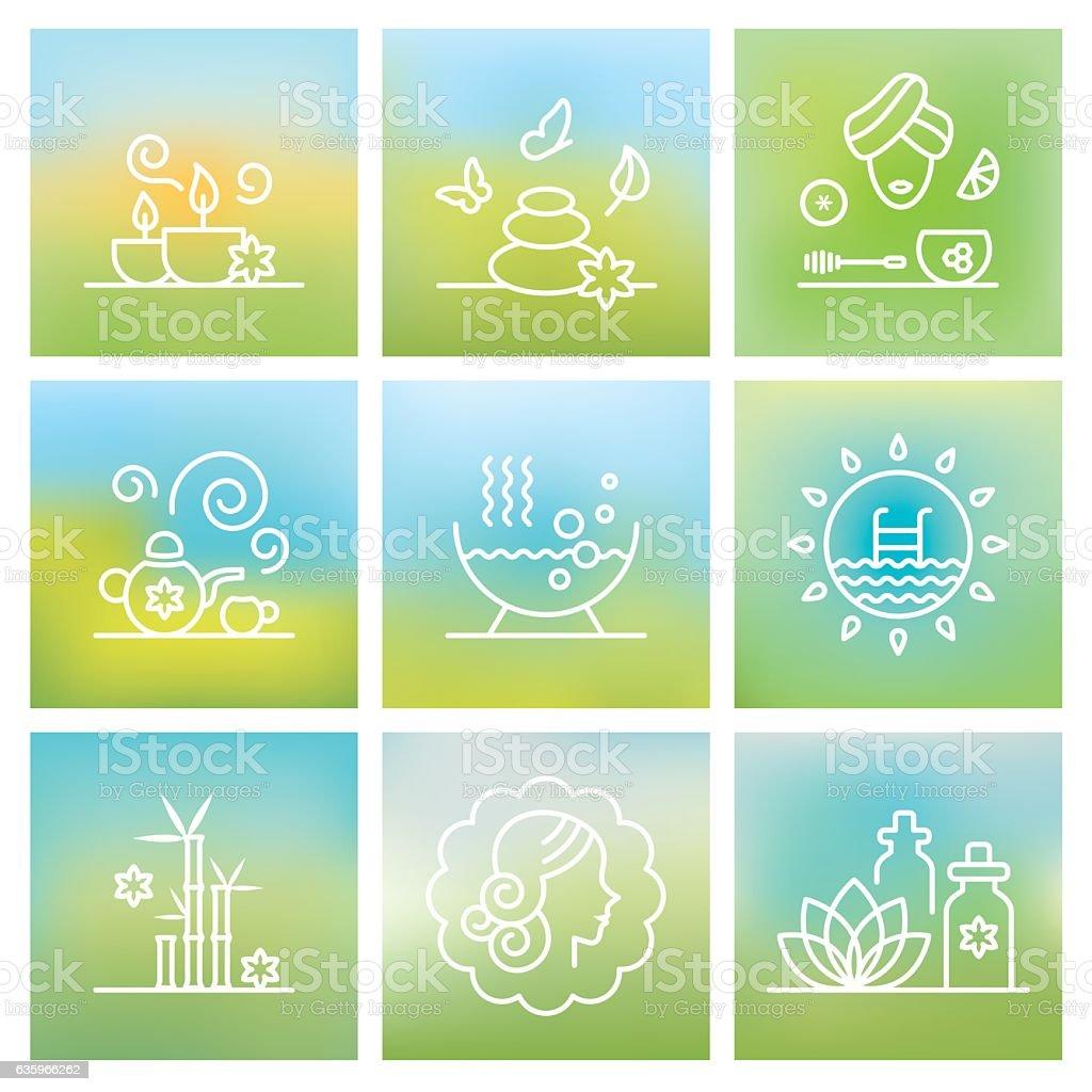 Spa symbol set vector art illustration