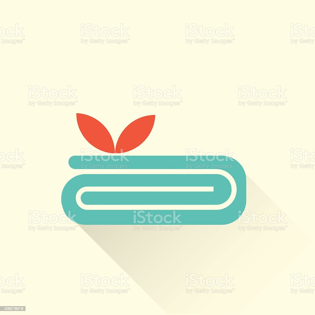 spa towel icon with a flower vector art illustration