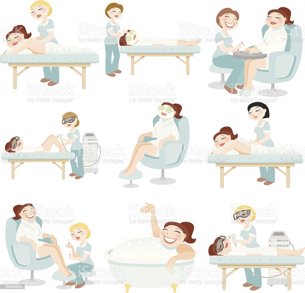 Spa Treatments Icon Set vector art illustration