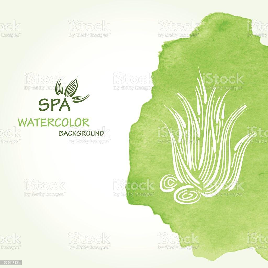 Spa watercolor background vector art illustration