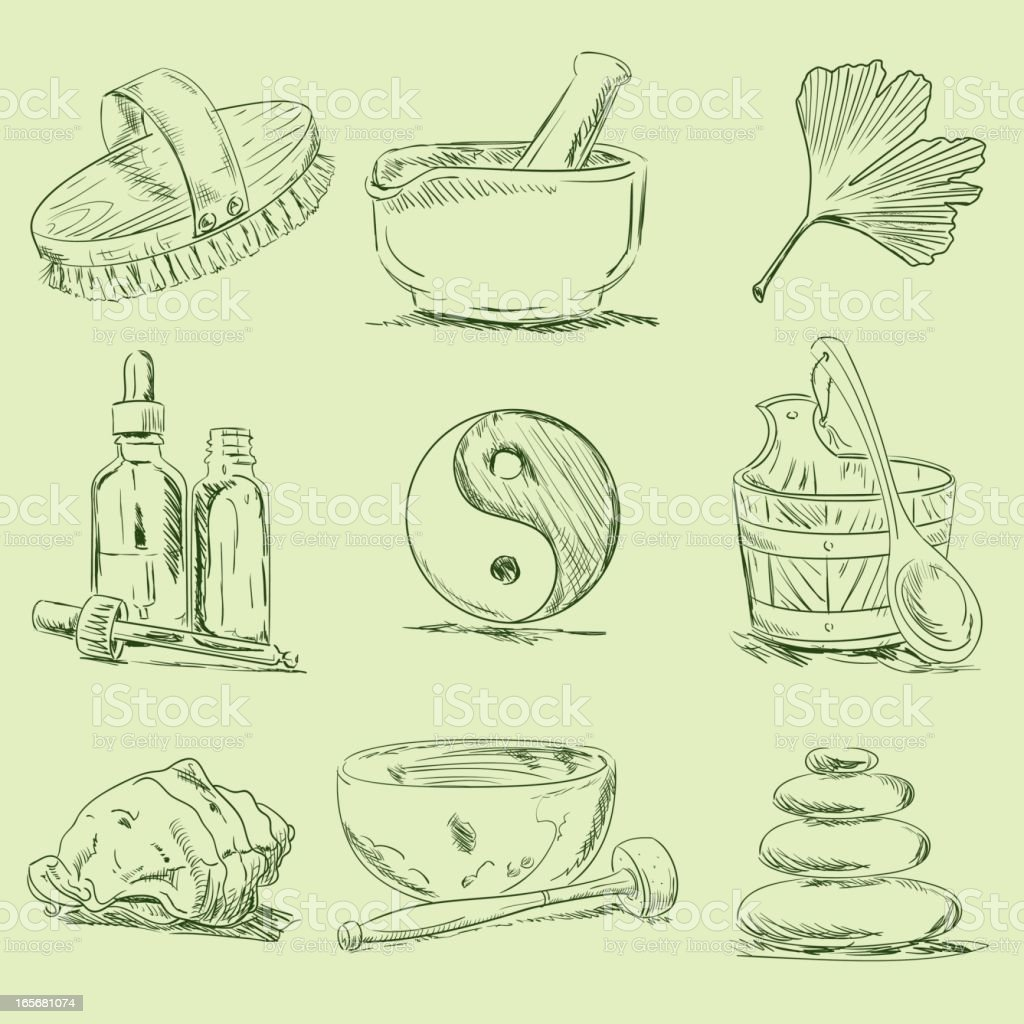 Spa & Wellness Sketches royalty-free stock vector art