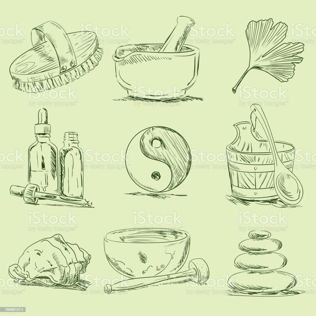 Spa & Wellness Sketches vector art illustration