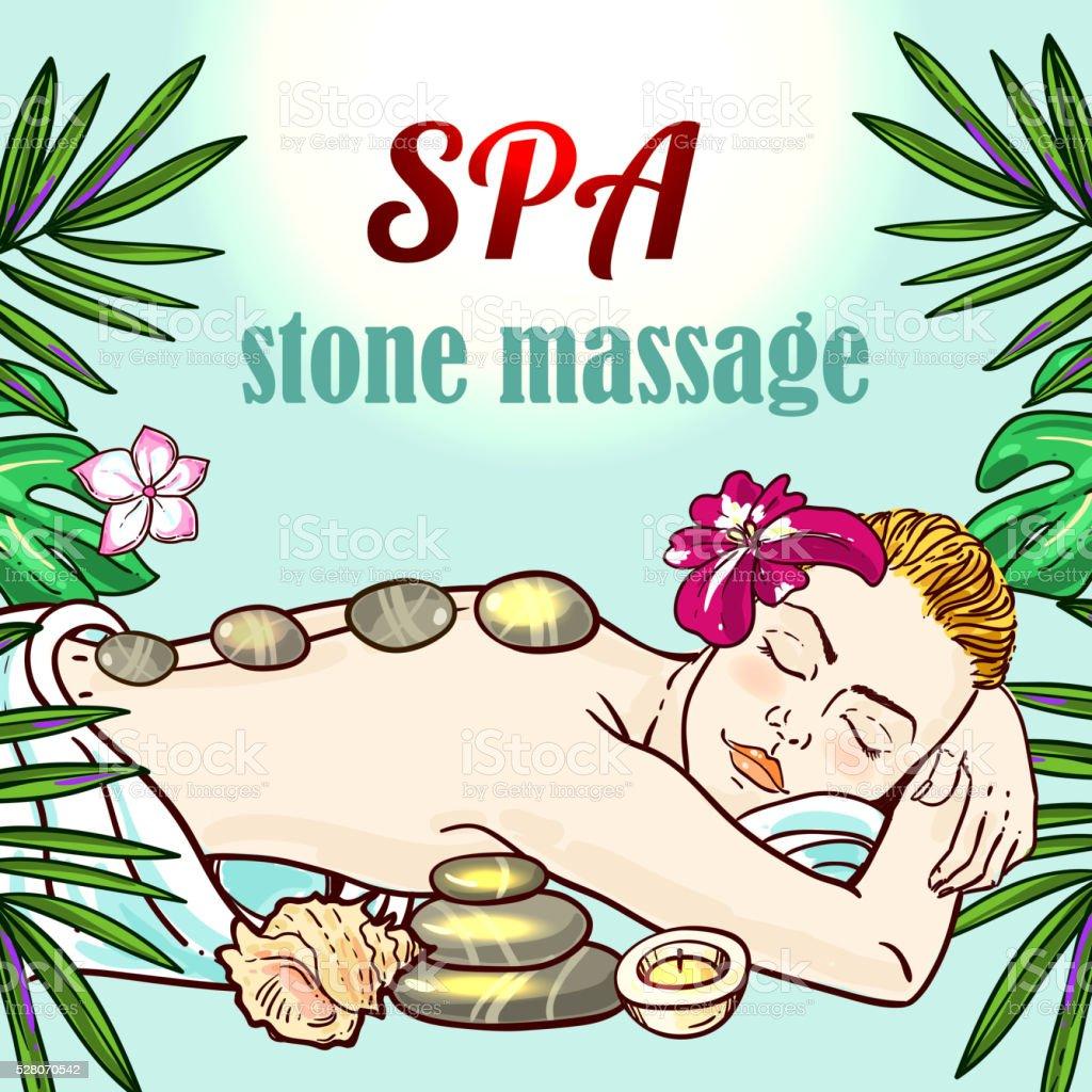Spa woman gets relax spa massage vector art illustration