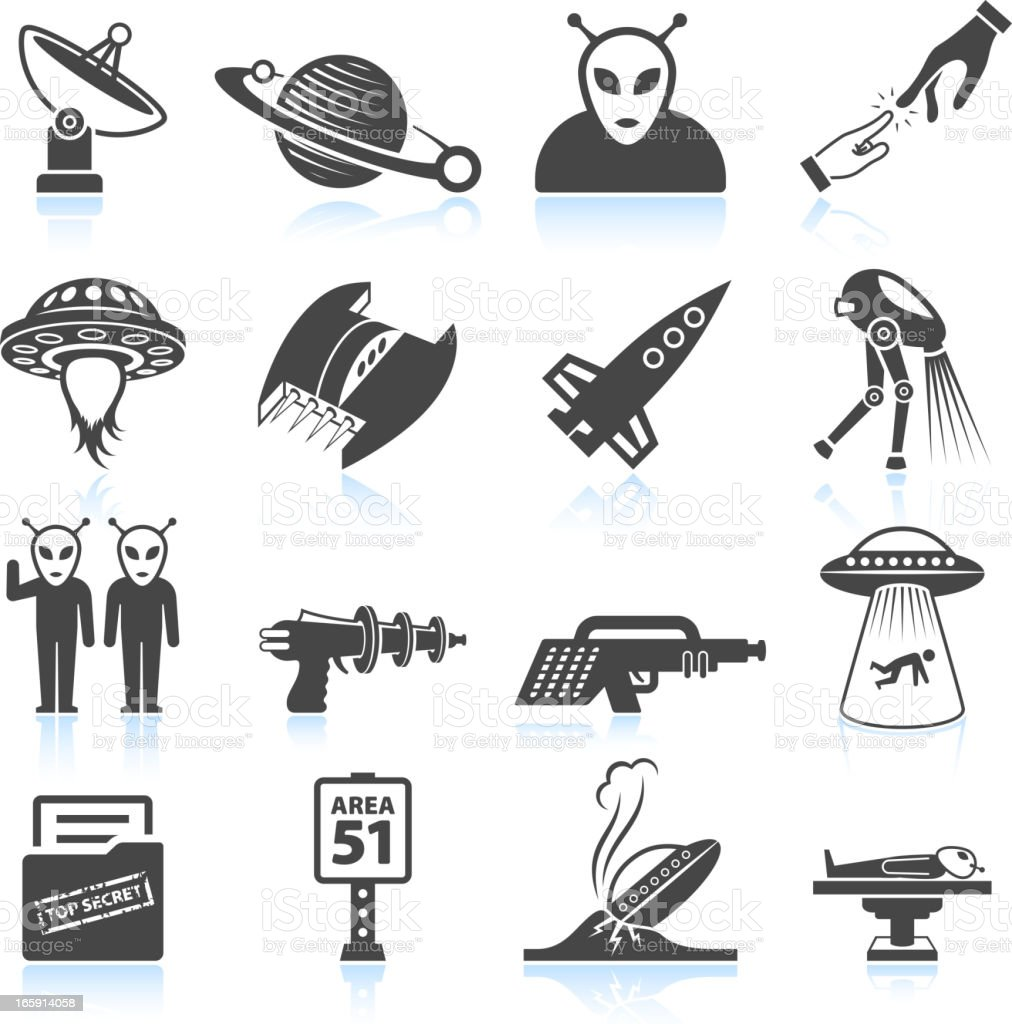 Space and Aliens life black & white icon set vector art illustration