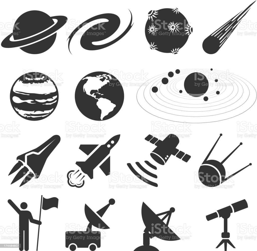 space and astronomy black & white vector icon set vector art illustration