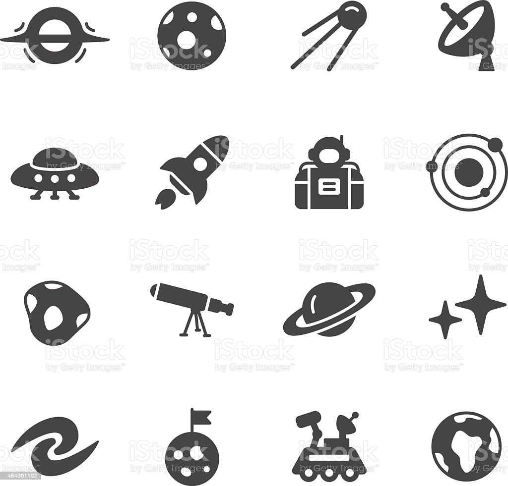 Space and Astronomy Icons vector art illustration
