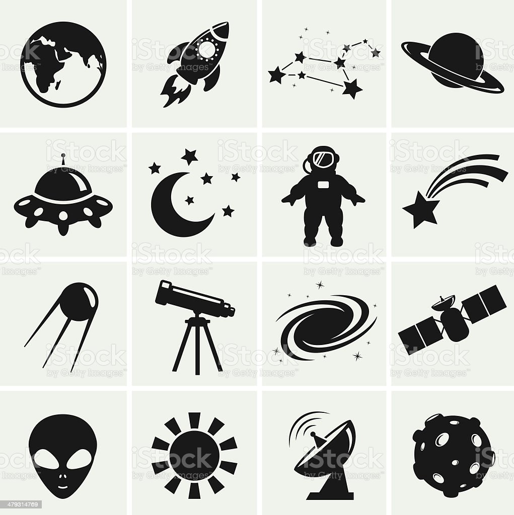 Space and astronomy icons. Vector set. vector art illustration
