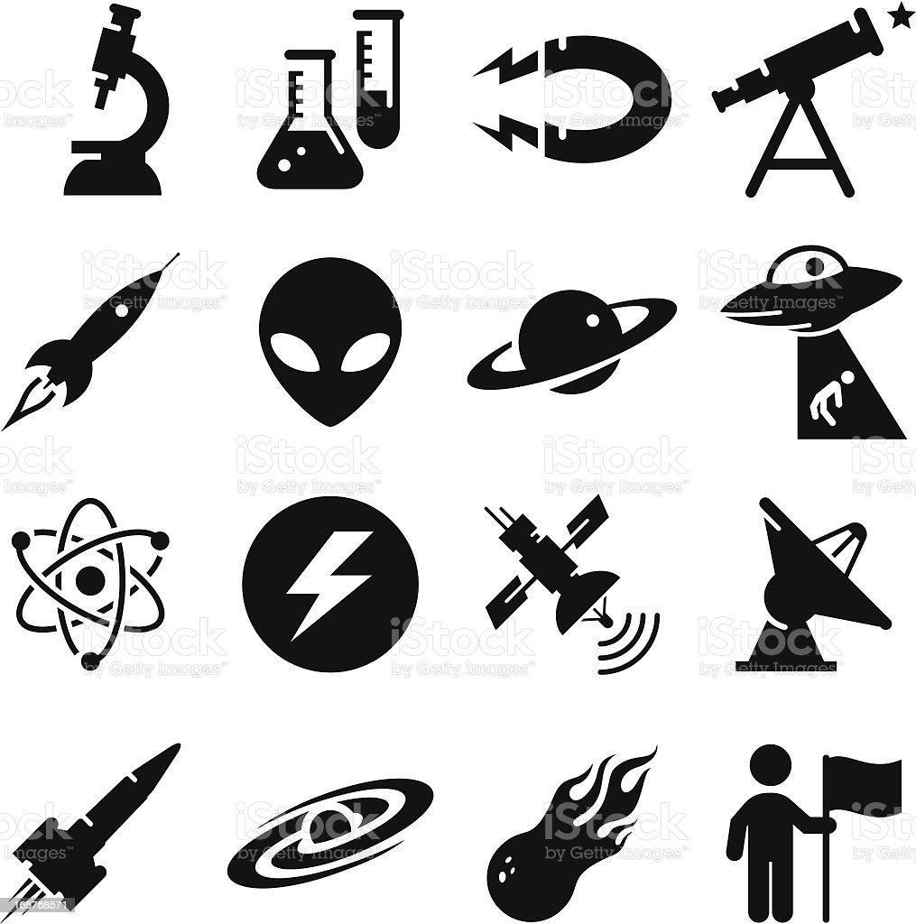 Space and Science Icons - Black Series royalty-free stock vector art