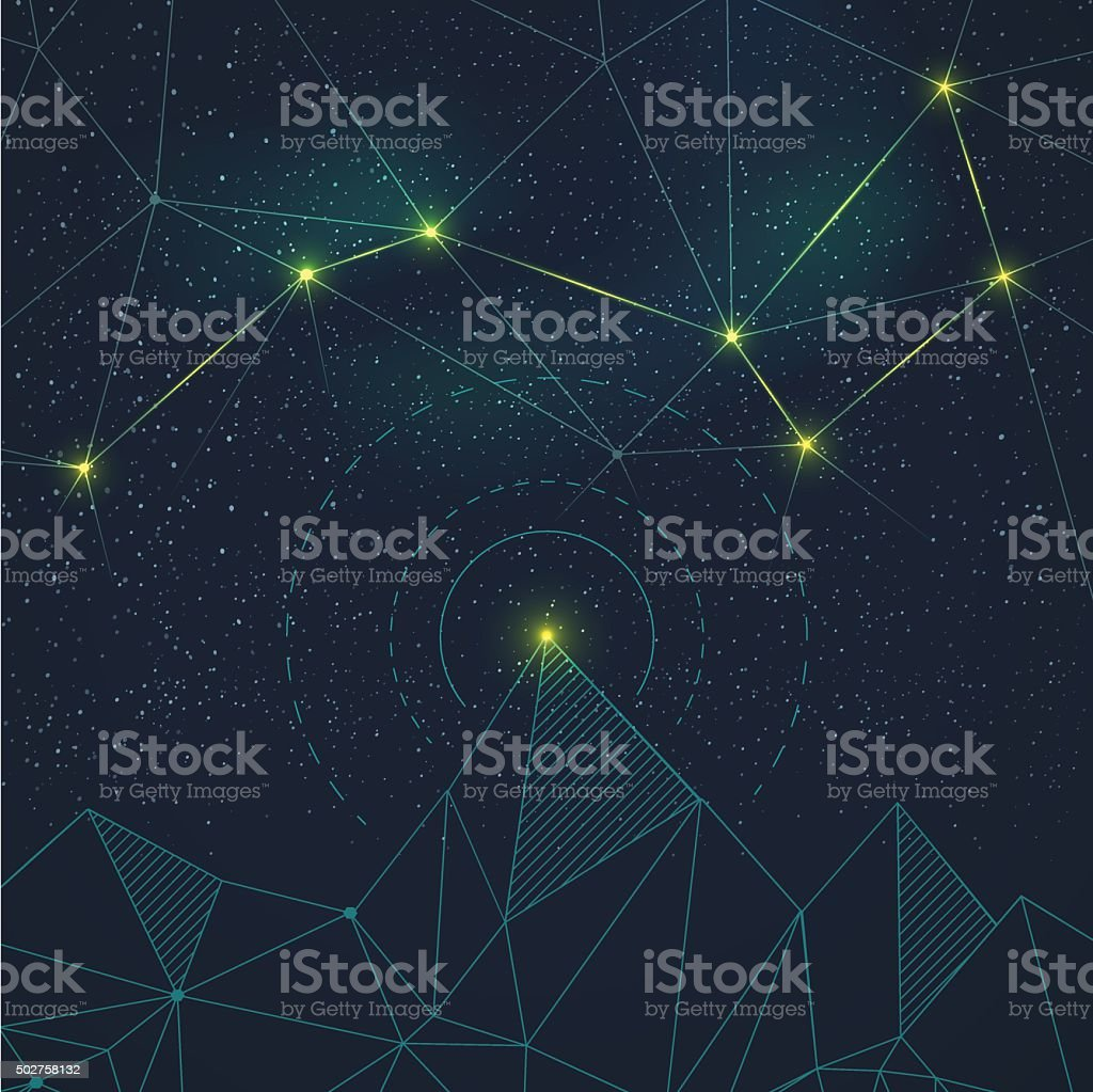 Space background with constellation vector art illustration