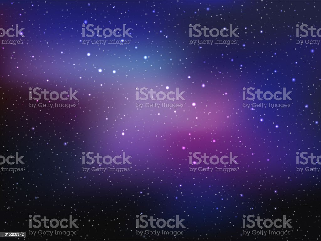 Space background with stars and patches of light. Abstract astronomical vector art illustration