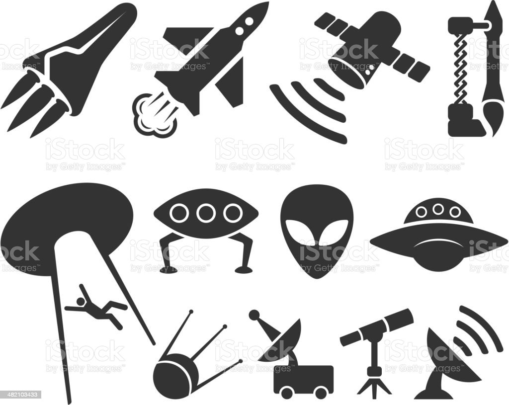 space black and white royalty free vector icon set royalty-free stock vector art