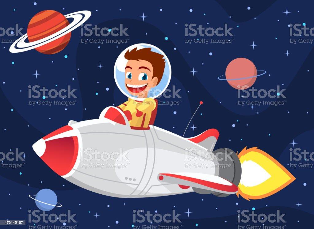 Space Boy on a Rocket vector art illustration