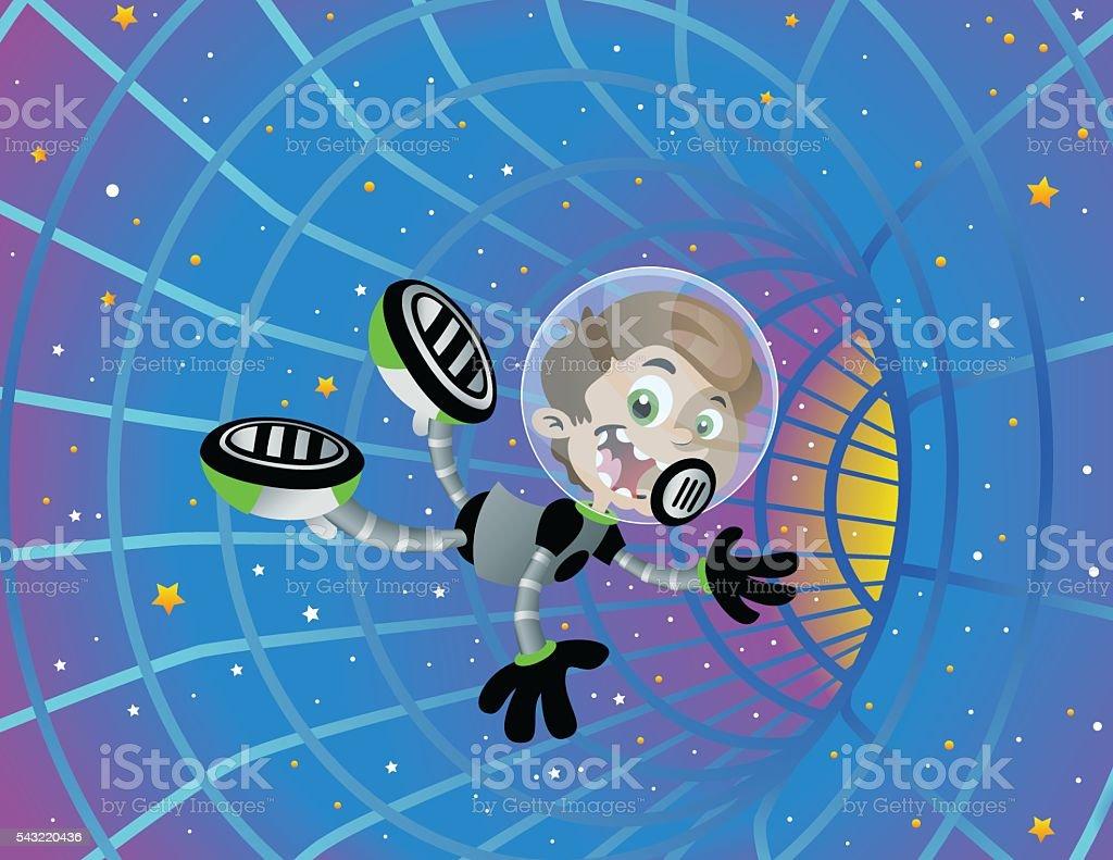 Space Boy Wormhole vector art illustration
