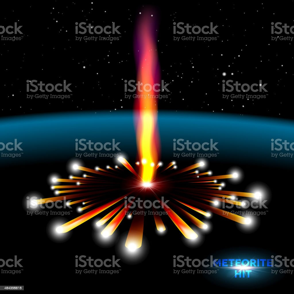 Space card with meteorite explosion vector art illustration