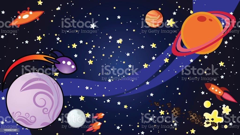 Space cartoon background vector art illustration